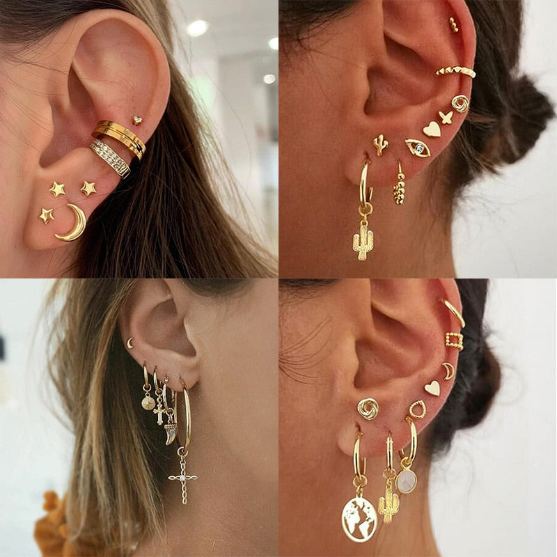 Bohemian Gold Drop Dangle Set Earrings