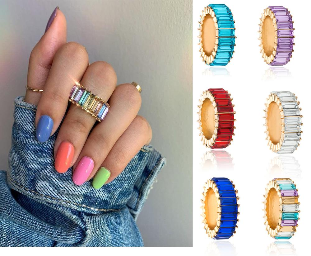 Thin Baguette Rainbow Gold Ring