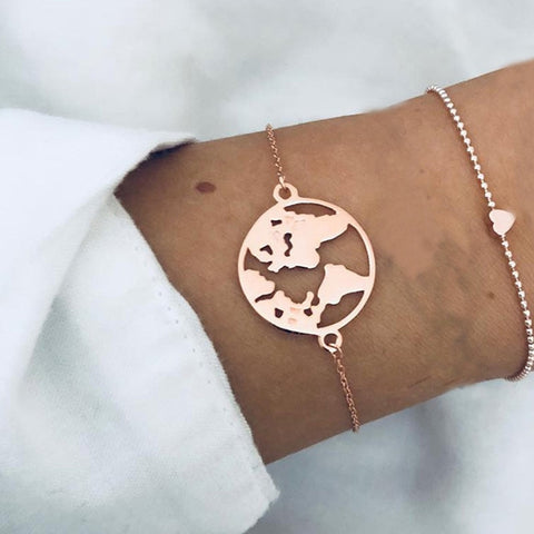 Map / Heart / Shell Rose Gold Set Bracelet
