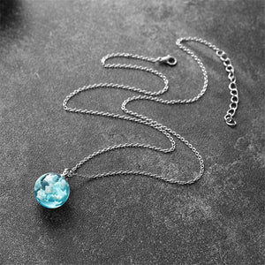 Transparent Resin Round Ball Moon Pendant Necklace