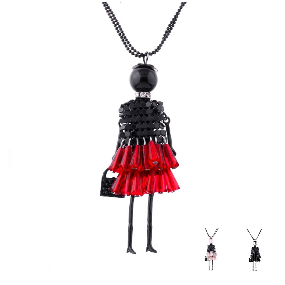 Long Red Black Girl Doll Beads Pendant Necklace