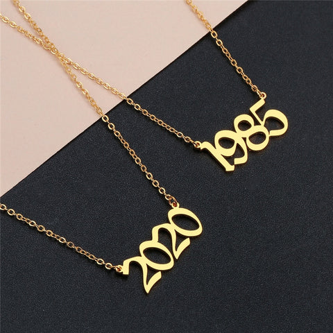 1980-2020 Year Number Gold Necklace