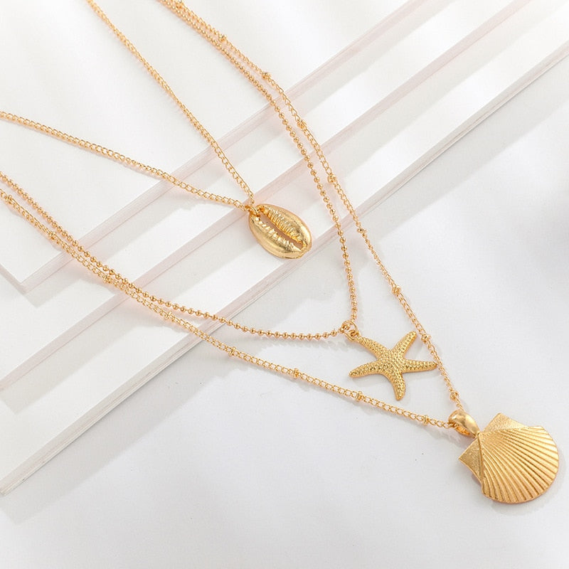 Gold Shell Starfish Scallop Multi-layer Necklace