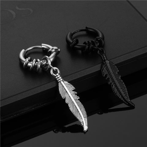 Feather Pendant Silver Earring