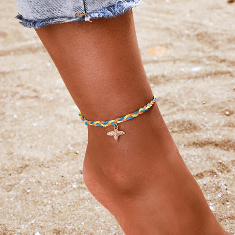 Personality Simple Bee Charm Rainbow Rope Anklet