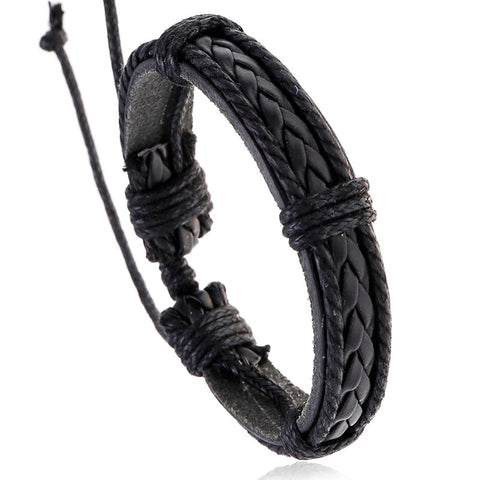Punk Adjustable Male Braided Leather Bracelet