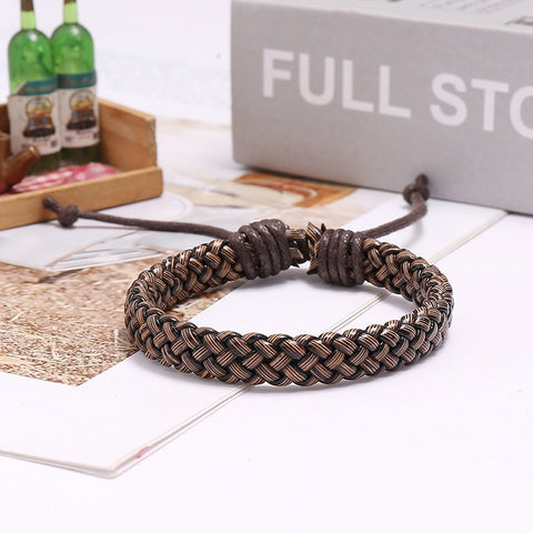 Trendy Simple Woven Adjustable Leather Bracelet