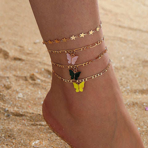 Boho Colorful Butterfly Anklet