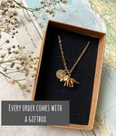 Wanderlust - Silver compass charm and birthstone necklace