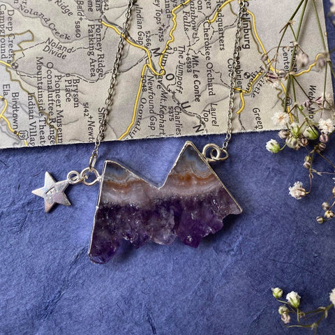 Eminence - Amethyst Mountains Personalised Silver Necklace