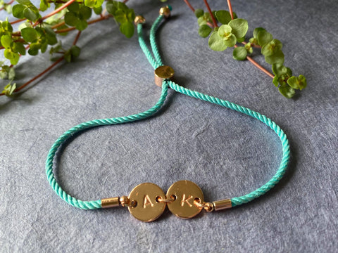 Connection - Blue Corded Personalised Bracelet