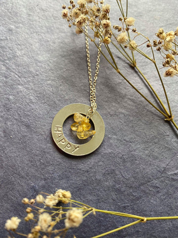 Affirmation - Citrine 'Happy' Engraved Necklace
