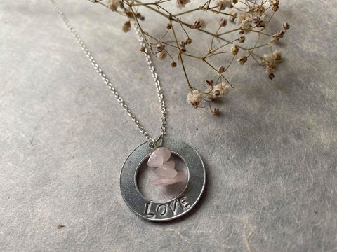Affirmation - Rose Quartz 'Love' Engraved Necklace