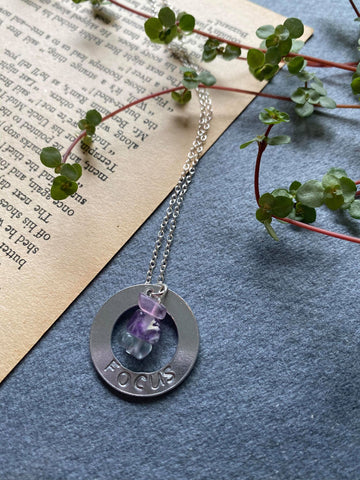 Affirmation - Rainbow Fluorite 'Focus' Engraved Necklace