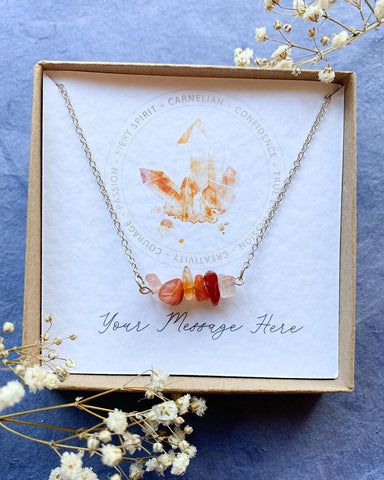 Aura Carnelian - Sterling Silver Crystal Necklace,
