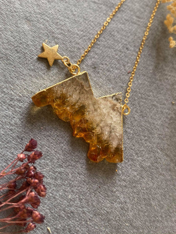 Eminence - Citrine Mountains Personalised Gold Plated Necklace