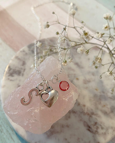 Amour - Silver Heart Charm and Birth Stone Necklace