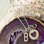 Affection - Silver Heart Charm and Birthstone Necklace
