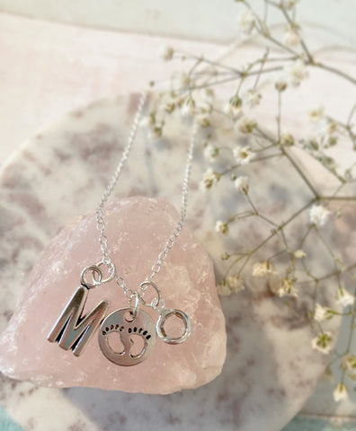 Tiny Toes - Silver Baby Feet Charm Birth Stone Necklace