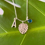 Monstera - Silver Leaf Charm Birth Stone Necklace