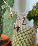 Cactus - Silver Cactus Charm and Birthstone Necklace