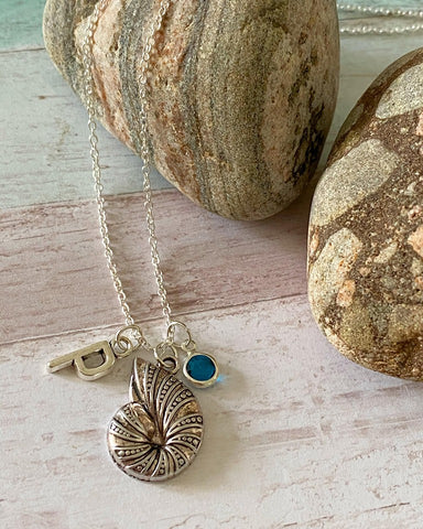 Ammonite - Silver Charm Birthstone Necklace