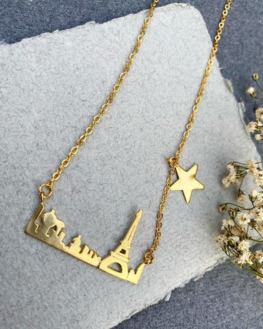 City of Lights - Gold Plated Paris City Skyline Necklace