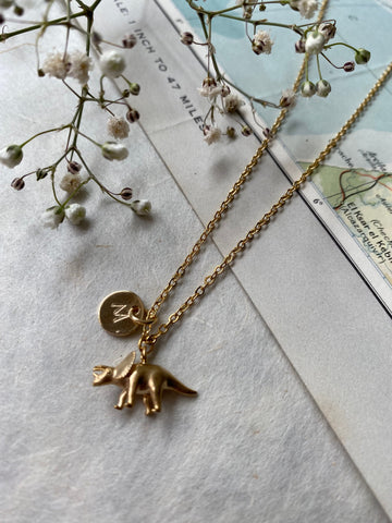 Triceratops - Engraved Gold Dinosaur Necklace