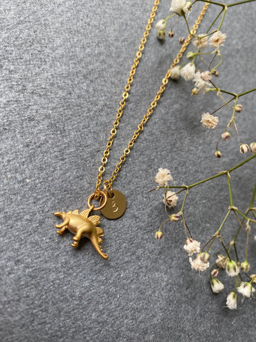 Stegosaurus - Dinosaur Gold Plated Necklace
