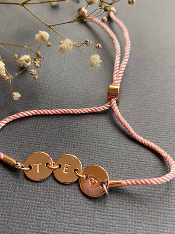 Connection - Pink Corded Personalised Bracelet