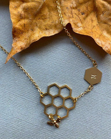 Queen Bee - Engraved Bee Charm Pendant