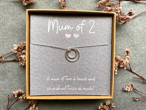 Hera, Mum of 2 Necklace - Sterling Silver Linked Ring Necklace