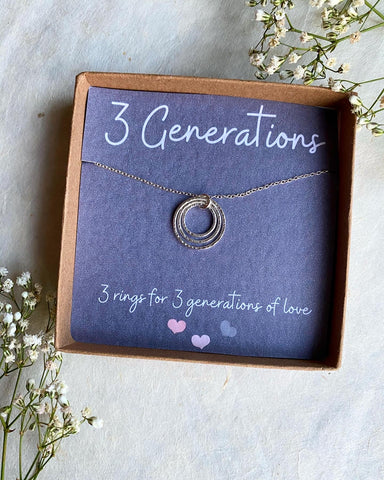 Hera, 3 Generations Necklace - Sterling Silver Ring Necklace