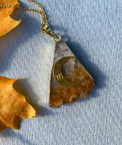 Harvest Moon - Citrine Personalised Pendant