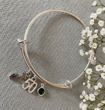 How Many Candles? - Special Birthday Charm and Birth Stone Bangle