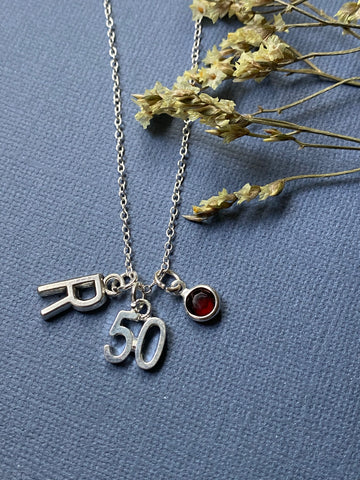 How Many Candles? - Special Birthday Charm and Birth Stone Necklace