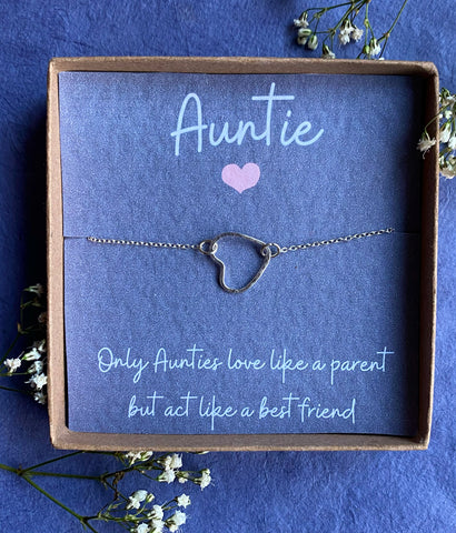 Hera, Auntie Necklace - Sterling Silver Heart Necklace