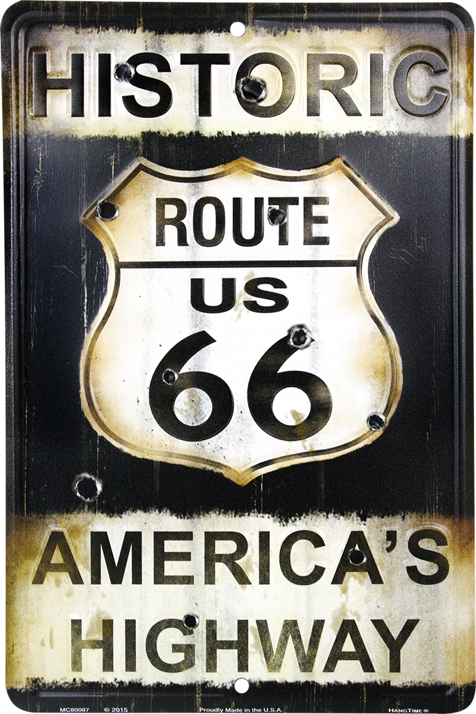 MC80087 - Route 66 America's Highway w/Bullet Holes