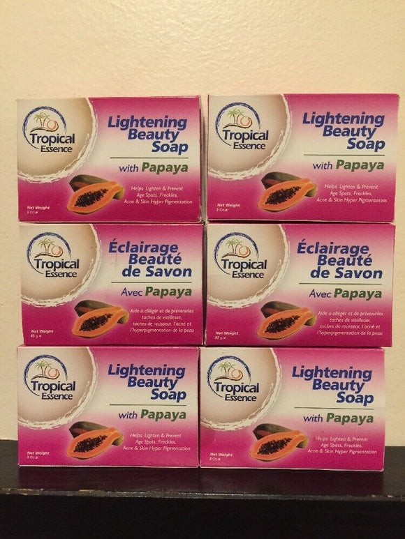 6 X Tropical Essence Lightening Beauty Soap with Papaya LOT OF 6 SOAPS