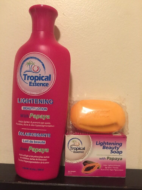 Tropical Essence Lightening Beauty Lotion with Papaya plus a FREE SOAP