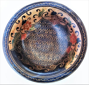 "Batik Wooden Bowl 12"" wide and 3 1/2"" deep"