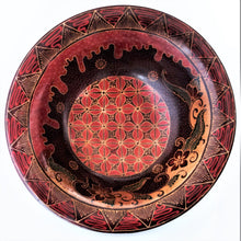 "Load image into Gallery viewer, Batik Wooden Bowl 12"" wide and 3 3/4 deep"