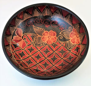 "Batik Wooden  Bowl 10"" wide and 2 3/4"" deep"