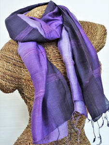 "Thai Silk/Cotton Scarf 24"" x 65"