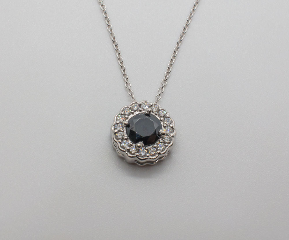 14K BLACK DIAMOND Pendant & Necklace