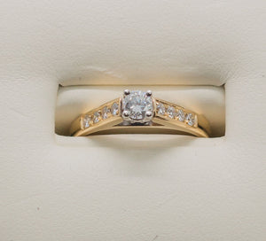 14K 2 TONE SOLITAIRE Ring