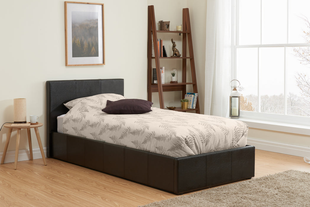 Sierra Ottoman Faux Leather Frame Bed