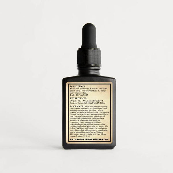 Supernatural 500 mg CBD Oil from Natural Path Botanicals. Directions: Shake well before use. Store in a cool dark place. Take 1 full dropper tube 2-3 times daily or as needed. 1 mL = 16mg CBD. Ingredients: Organic MCT Oil, Naturally derived Terpene Flavor, CBD Isolate. Formulated in Hayden, Colorado on sustainable family farms.