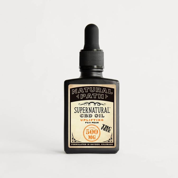 Supernatural CBD Oil THC Free 500 mg organic CBD oil from Natural Path Botanicals for Uplifting benefit with a Fuji Pear flavor. Made in the USA.