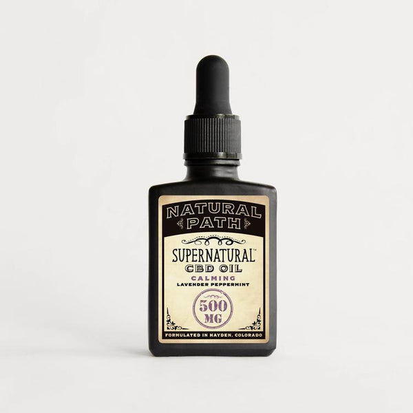 Supernatural CBD Oil 500 mg organic CBD oil from Natural Path Botanicals for Calming benefit with a Lavender Peppermint flavor. Made in the USA.